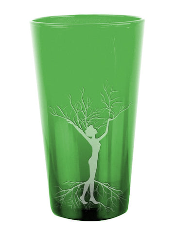 Woman Roots Green Glass  ~ 16 oz.