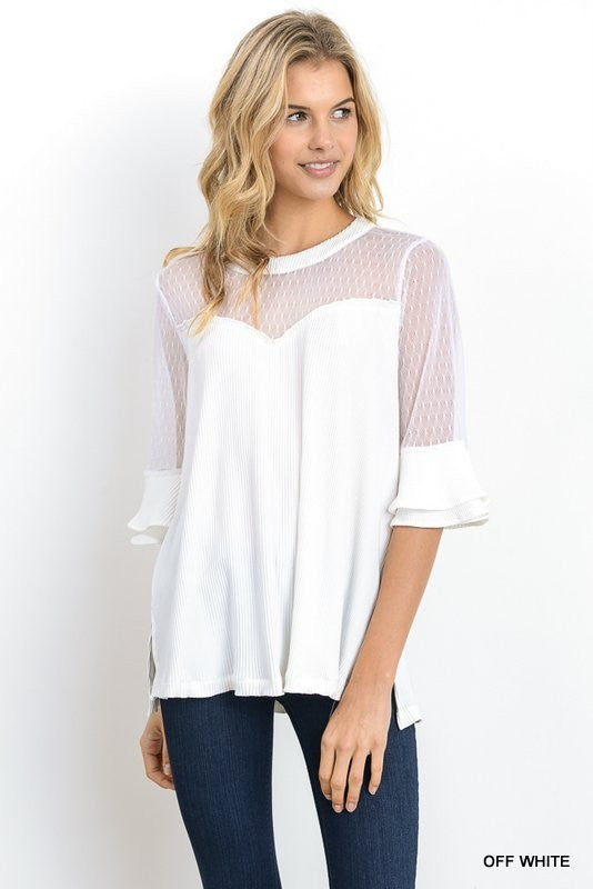 White Day Dreamer Ruffle Mid Sleeve Top