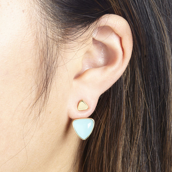 FOXY ORION EAR JACKET IN GOLD/AQUA