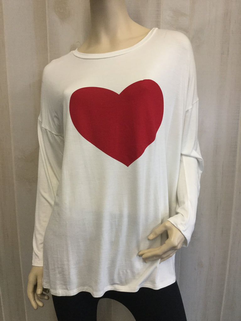 Solid Red Heart Long Sleeve Top