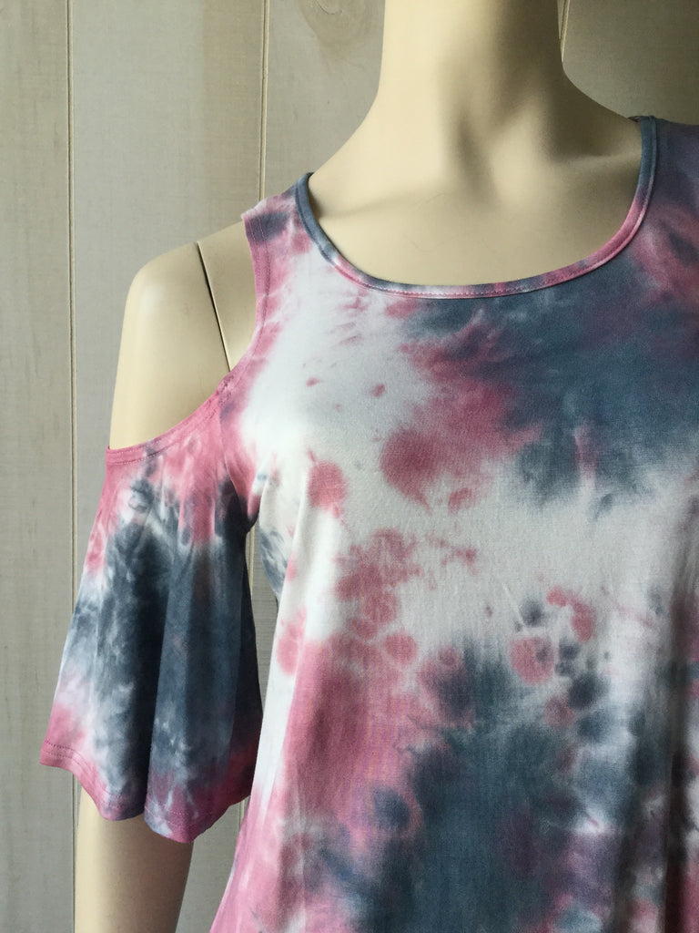 Pink and Grey Cold-Shoulder Tye Dye Top