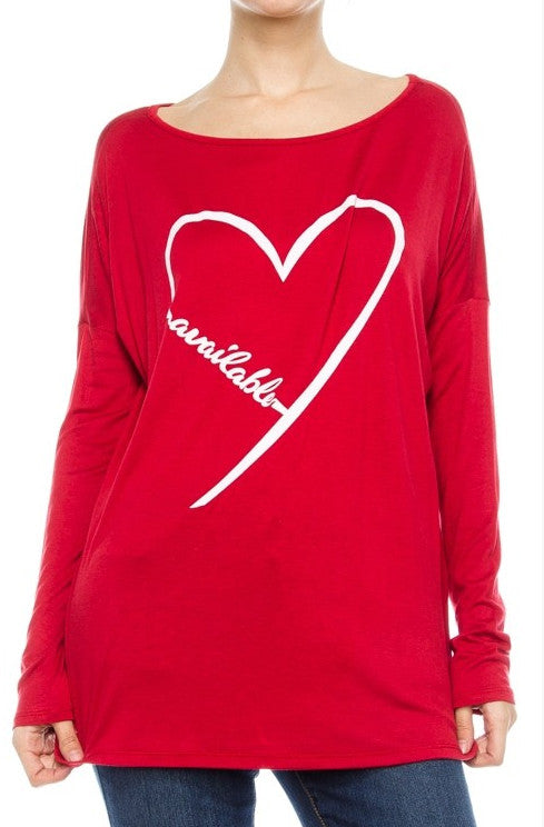"""Available"" Long Sleeve Heart Shirt in Red"