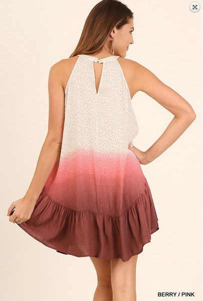 Pink and Cream Ombre Sleeveless Dress with Keyhole