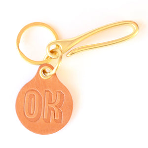 """OK"" Key Fob with Brass Loop Hook"