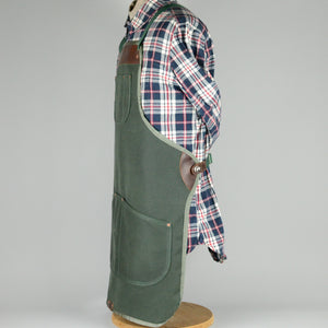 Waxed Canvas Apron (Green and Harvest Tan)