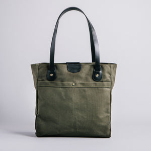Wellington Tote (Olive Green with Black Leather) Fall Edition