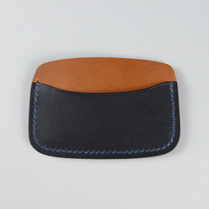 Minimalist 3 Pocket Wallet (Dark Blue and Tan)