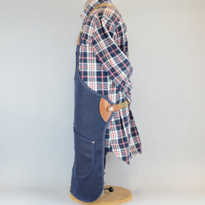 Waxed Canvas Apron (Navy with Tan Leather)