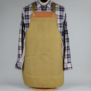 Waxed Canvas Apron (Beige with Tan Leather)