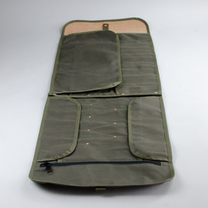 Double Barrel Tool Roll (Dark Brown & Olive)