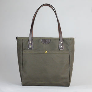Wellington Tote (Olive and Dark Brown)
