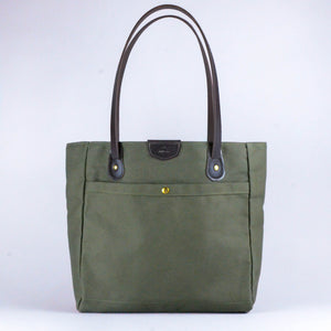 Wellington Tote (Olive & Dark Brown)