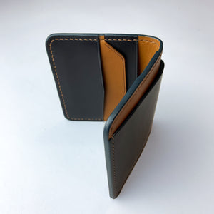 Chevron Bifold Wallet (Dark Blue & Whiskey)