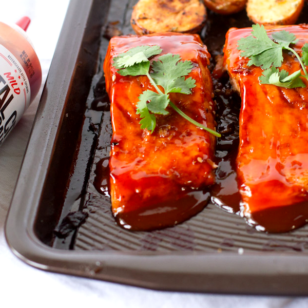 Mambo Glazed Salmon with Rosemary Potatoes