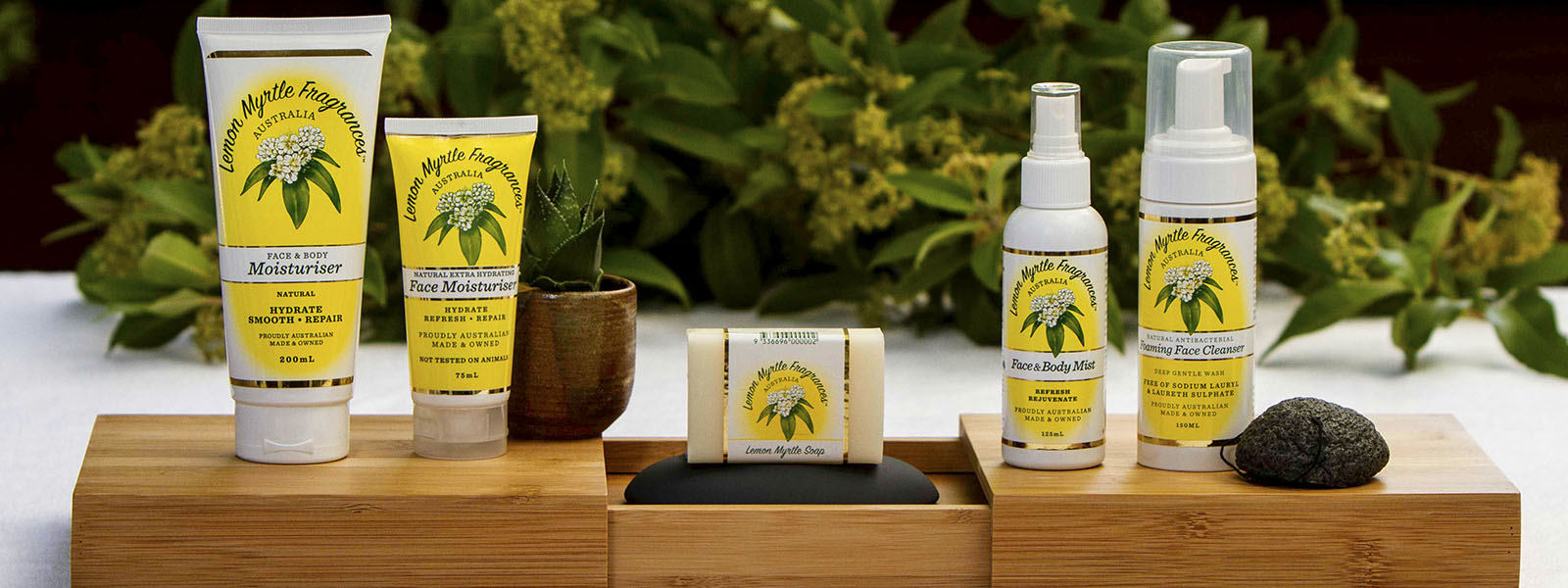 bamboo table with Lemon Myrtle skincare
