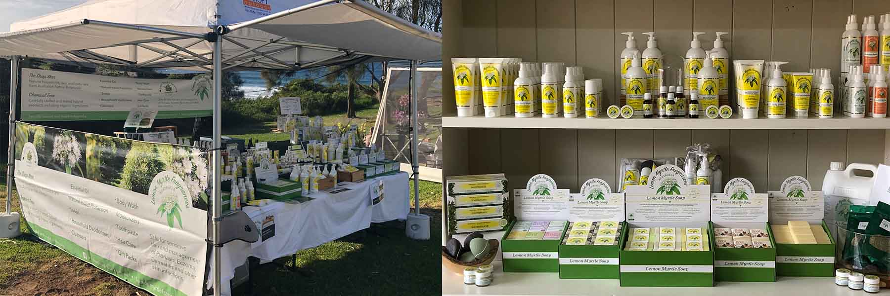 lemon Myrtle products displayed at market