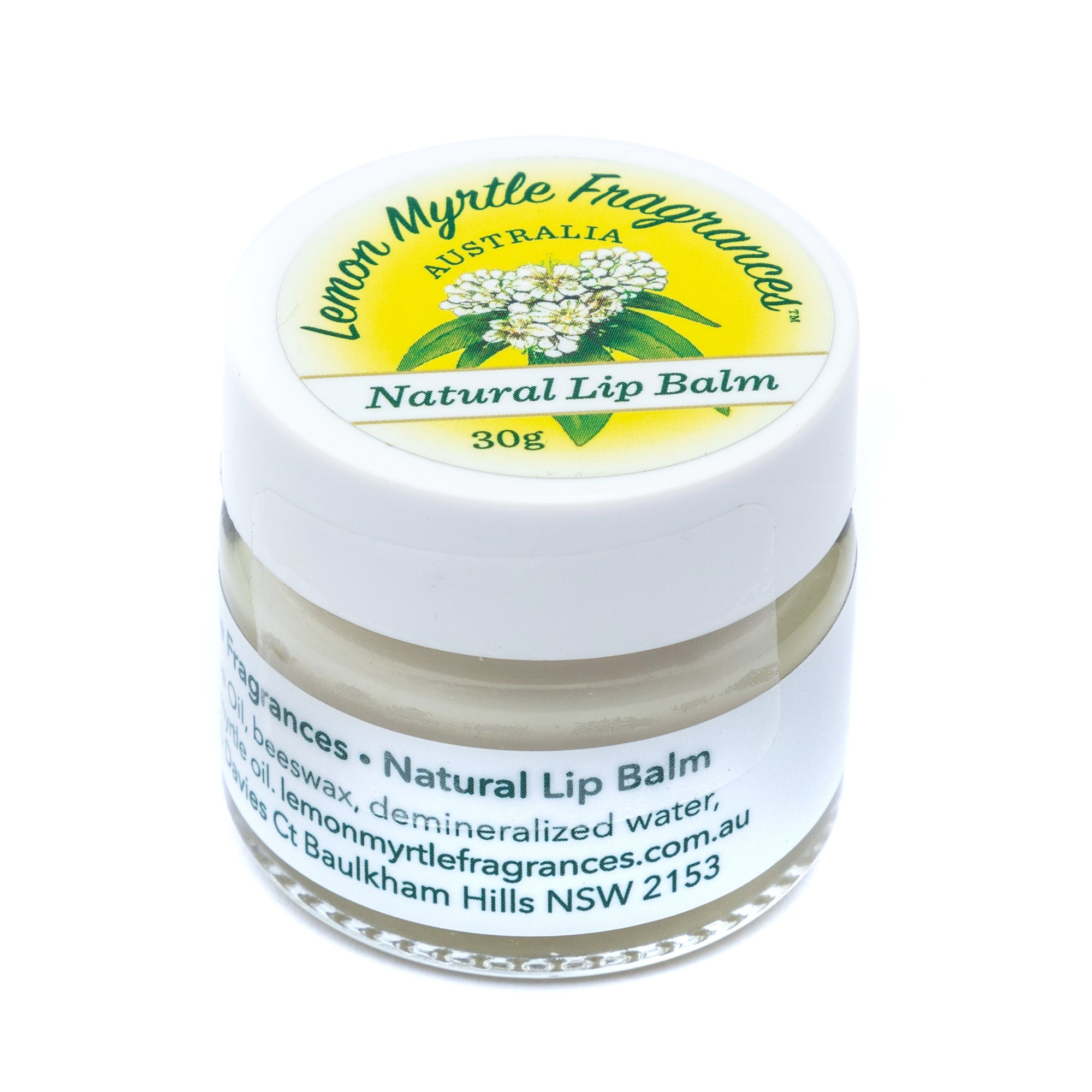 Natural Lemon Myrtle Beeswax Lip Balm - 30 gms