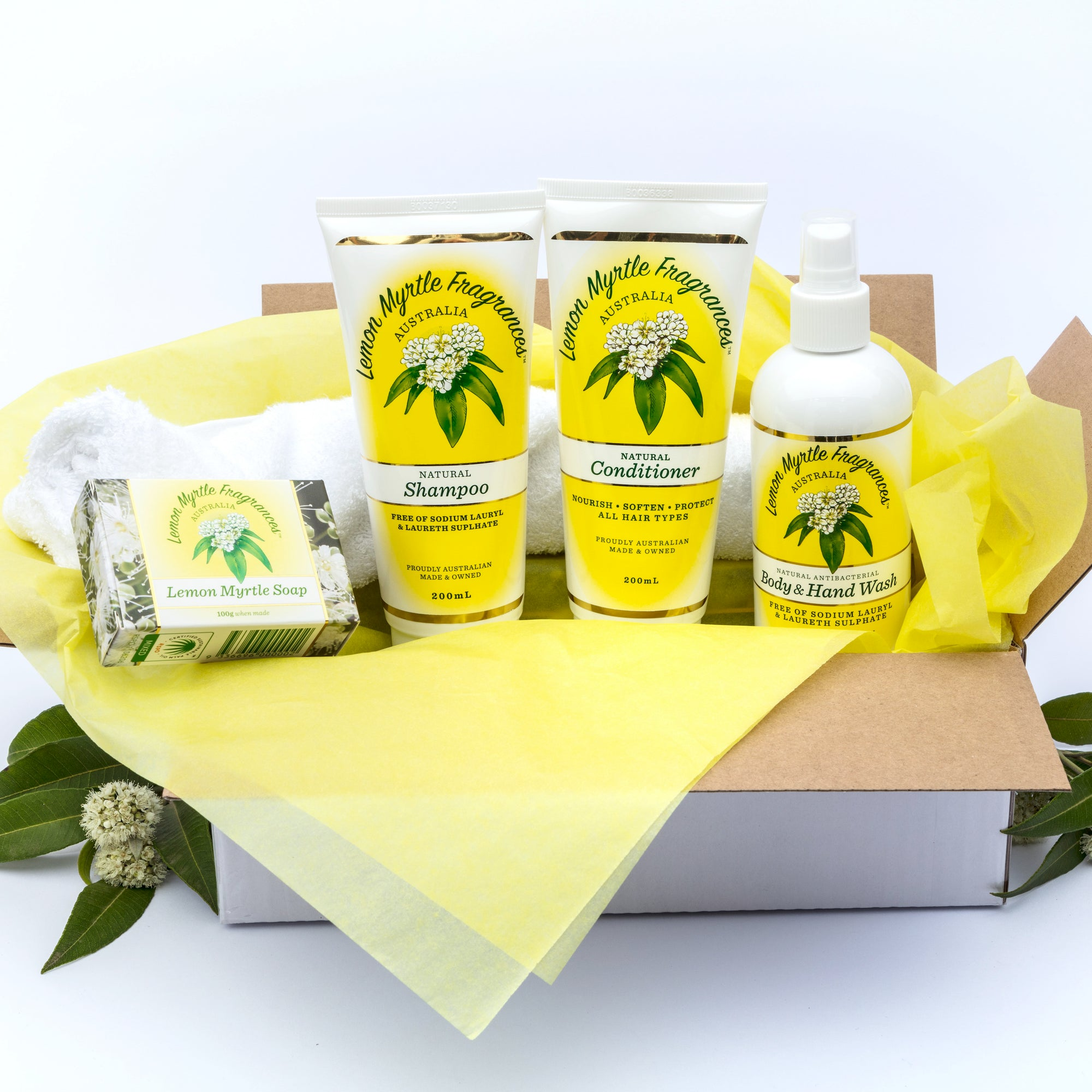 Natural Lemon Myrtle Shower Pamper Gift Box