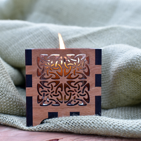 Celtic Four-Square Wooden Laser Cut Votive Candle Holder