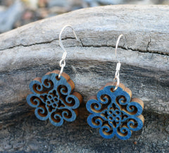 Indian Floral Designed Laser Cut Birchwood Earrings