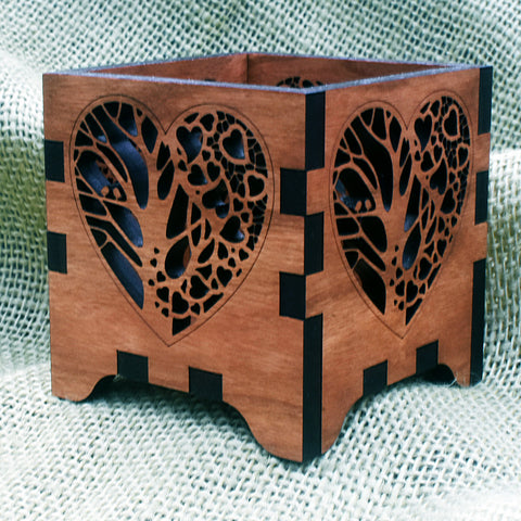 Love is in the Air Wooden Laser Cut Votive Candle Holder