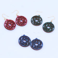 Whimsical Laser Cut Birchwood Earrings