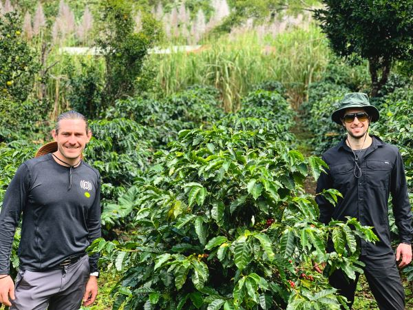 Alex and Andrew in a coffee farm in South America