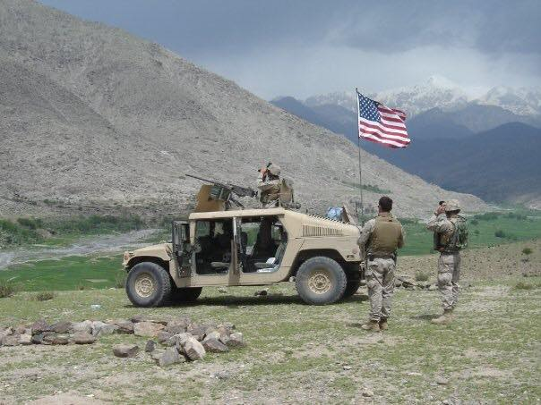 US Marines standing watch in Afghanistan near the Korengal/Pech river valleys