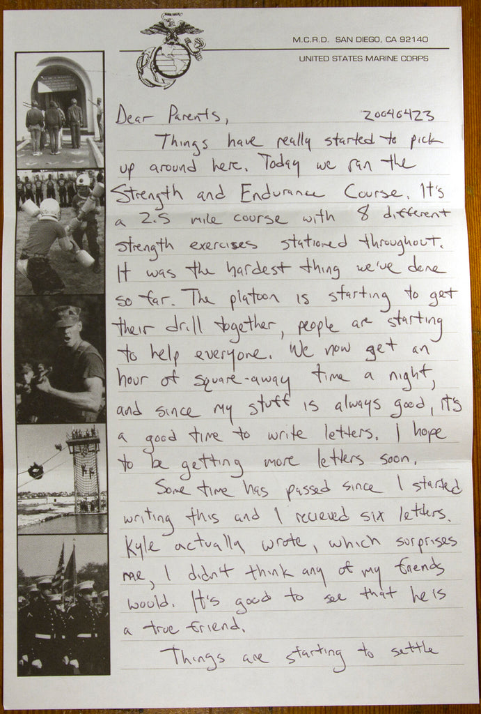 Letter Five - Letters From Marine Corps Recruit Training - Korengal Industries