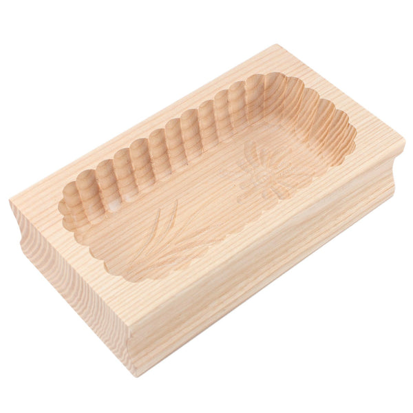 Wooden Scalloped Edge Edelweiss Flower Butter Mould 250g