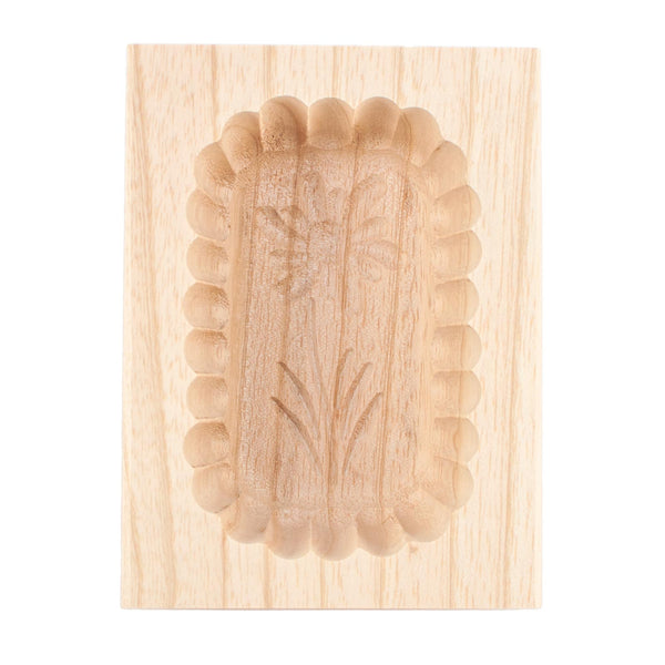 Wooden Scalloped Edge Edelweiss Butter Mould 125g
