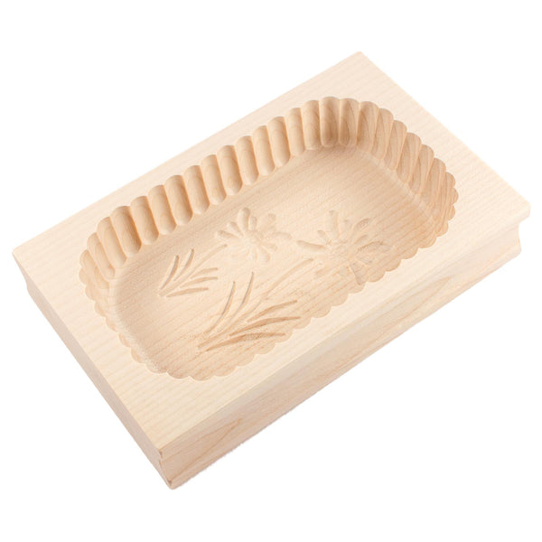 Wooden Scalloped Edge Edelweiss Flower Butter Mould 500g