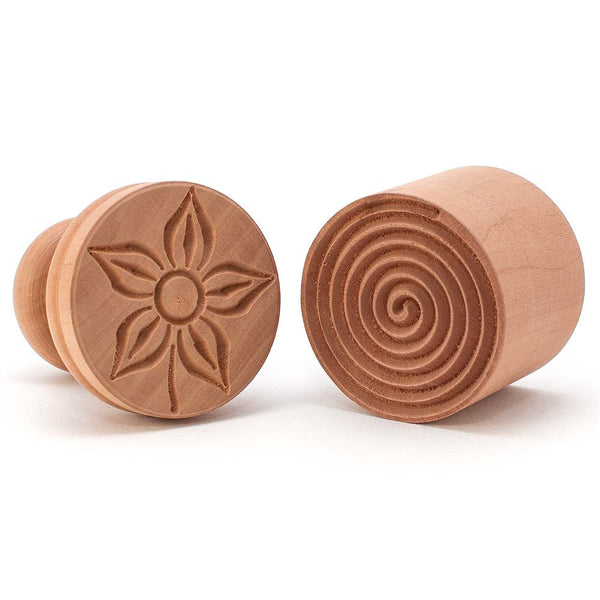 Pearwood 'Fiore' Flower Corzetti Stamp / Press Mould Spiral