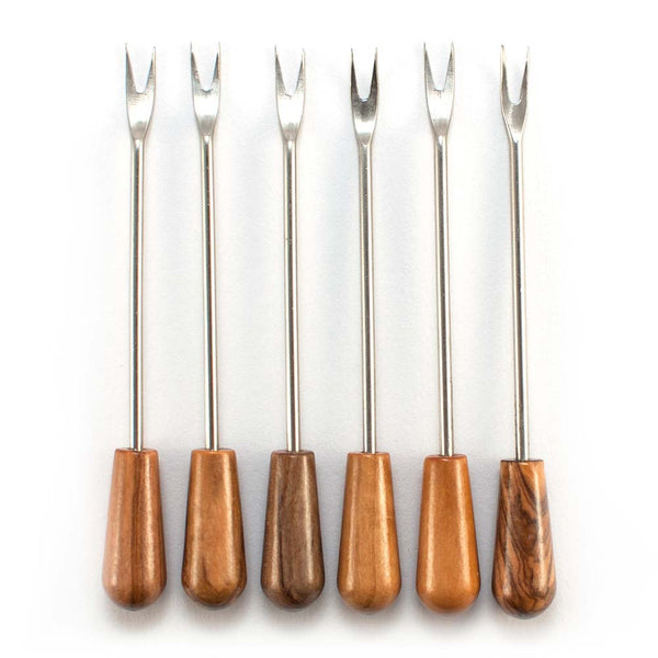 Set of 6 Pronged Olive Fork/ Pick with Olive Wood Handle