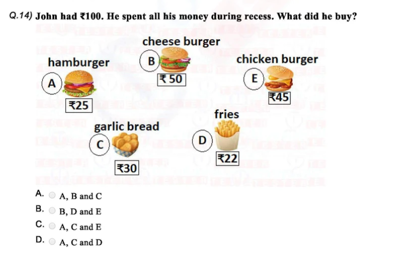 Class 1 IMO question paper on Money