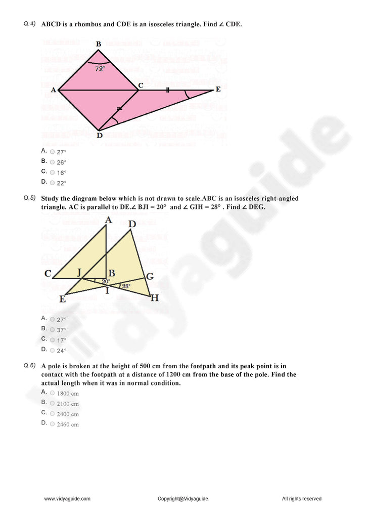 Class 7 Maths triangle and its properties extra questions - Online test 02