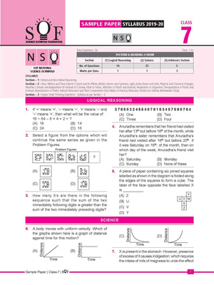 Official Class 7 NSO Sample question papers