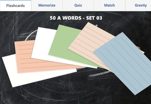 Online Flashcards to learn A Words - Set 03