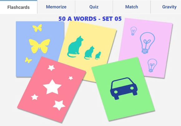 Online Flashcards to learn A Words - Set 05