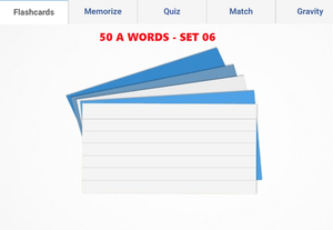 Online Flashcards to learn A Words - Set 06