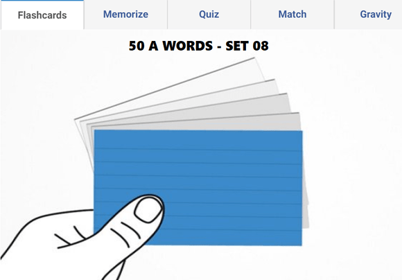 Online Flashcards to learn A Words - Set 08