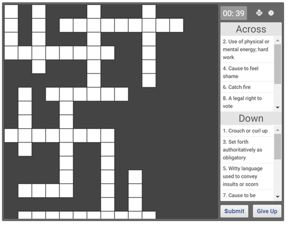 Online Crossword puzzle for English Vocabulary - 02