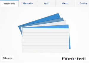 Online Flashcards to learn F Words - Set 01