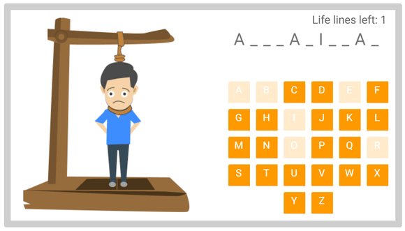 Online Hangman puzzle fr kids 01 - Asian Countries