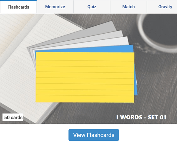 Online Flashcards to learn I Words - Set 01