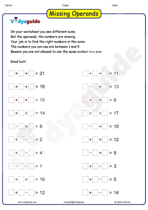 Download Maths puzzles for kids Missing Operands as PDF Worksheet - 01