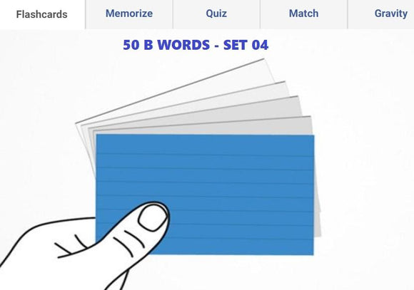 Online Flashcards to learn B Words - Set 04