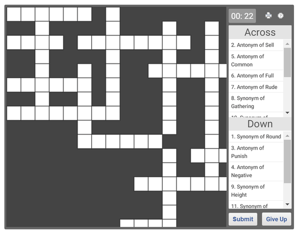 Online Crossword puzzle on Antonyms and Synonyms