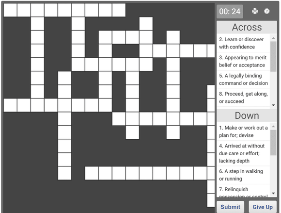 Daily online crossword puzzle - 16 Jan 2019