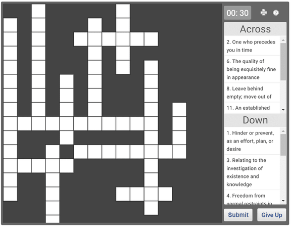 Daily online crossword puzzle 26 Jan 2019